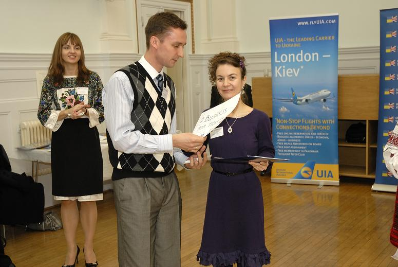 UBCC member Oleksiy Synelnychenko won two business class tickets to Ukraine with Ukraine International Airlines, corporate member of the UBCC and a sponsor of the evening